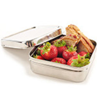 "ECO Lunchboxes Stainless Steel Lunchboxes & Trays Solo Cube Sandwich Lunchbox 5 1/4"" x 2"" BPA-Free"