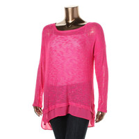 Jessica Simpson Womens Plus Marled Long Sleeves Knit Top