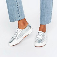 Superga Metallic Plimsoll Trainers In Silver