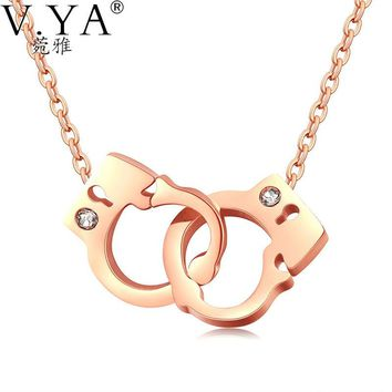 Women Handcuffs Stainless Steel Pendant Necklaces Stainless Steel with Silver or Rose Gold Color