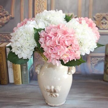 French Rose1 Bouquet Artificial Silk Peony Flowers Plants Wedding Decoration Arrangement Room Hydrangea DIY Flores Artificiales