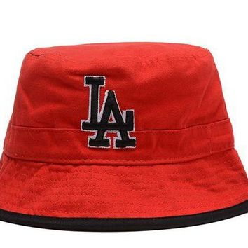 DCCKBE6 Los Angeles Dodgers Full Leather Bucket Hats Red