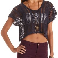 Short Sleeve Crochet Crop Top by Charlotte Russe - Navy