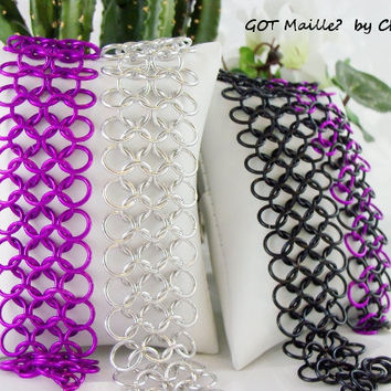 Bracelet  Chainmaille Mesh Cuff by GOTMaillebyChristy on Etsy