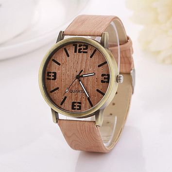 Malloom Quartz Watches Women Clock Men Casual Wooden Color Leather Strap Watch Wood Female Wristwatch Best Relogio Feminino