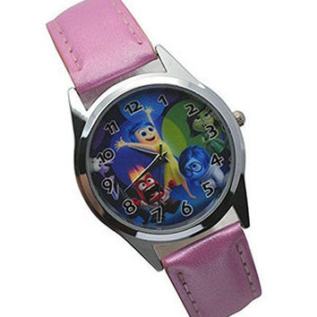 """Inside Out Movie """" Joy """" on a Girls Pink Leather Wrist Watch"""