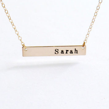 Personalized Gold Bar Necklace Monogram Personalize