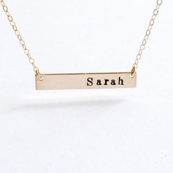 Personalized Gold Bar Necklace Bar Monogram Necklace Personalized Necklace Gifts Mom Jewelry Mothers Day gift Name plate necklace