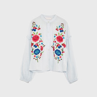 SHIRT WITH EMBROIDERED BIB DETAILS