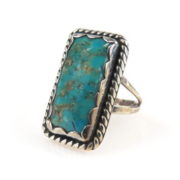 Jessie Claw Navajo Turquoise Sterling North-South Ring, Vintage, 1930s to 1980s