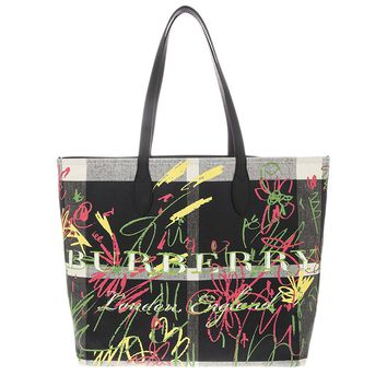 Burberry Women's Doodletote Check Reversible Canvas Tote Black