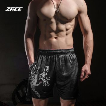 ZRCE summer zipper pocket beach shorts mesh breathable fabric basketball fitness tennis daily workout men's printed shorts.
