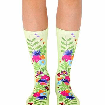 Pressed Flowers Crew Socks