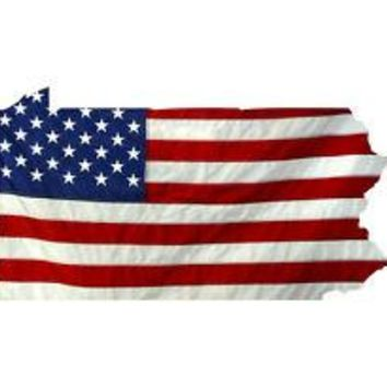 State of Pennsylvania Realistic American Flag Window Decal - Various Sizes
