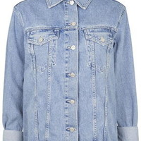 TALL Oversized Denim Jacket - Mid Stone