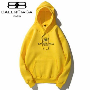 Balenciaga Tide brand classic double B letter printing men and women loose plus velvet hoodie Yellow