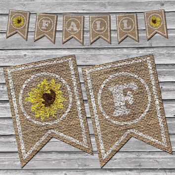 Burlap Fall Sunflower Banner – Printable Home Decor –  Autumn Sunflower Decoration – Stamped Style Burlap Banner - INSTANT DOWNLOAD