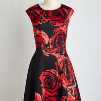 Mid-length Cap Sleeves A-line All for Allure Dress