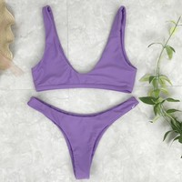 Fashion Women Pure Color Vest Style Simple Two Piece Bikini Swimwear Purple