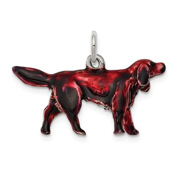 925 Sterling Silver Enameled Small Irish Setter Charm and Pendant