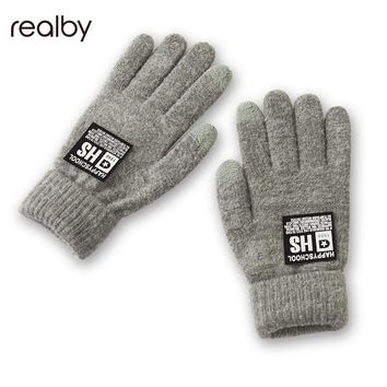 Realby Winter printing Stretchy Mittens Knitted Gloves Men Warmer New Autumn Fashion Wrist Soft B5078