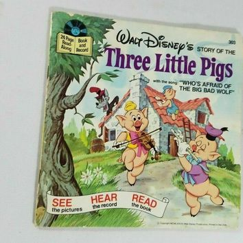 1978 Disney Story Of The Three Little Pigs Read Along Book Only no record
