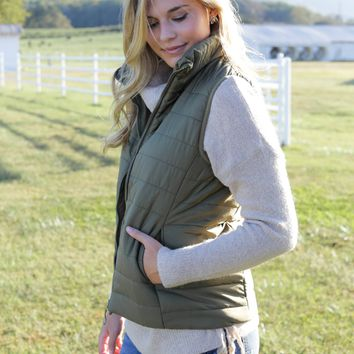 Hill Valley Quilted Vest, Olive