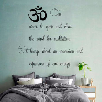Wall Decals Indian Pattern Buddha Om Sign Words Yoga Gym Home Vinyl Decal Sticker Kids Nursery Baby Room Decor kk576