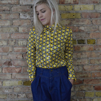 sunny side up GEOMETRIC groovy print blouse vintage 70s boho art school long sleeve fitted indie dorky nerd