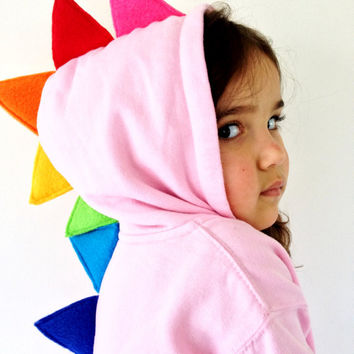 Baby Pink Rainbow Spike Dinosaur Dragon Zip Up Hoodie