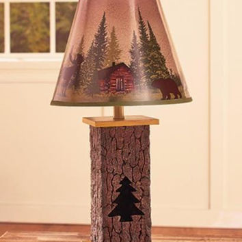 Lamp Table Rustic Wilderness Log Cabin Moose Bear Primitive Decorative Cut Out