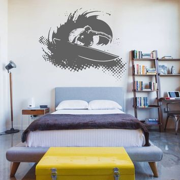 ik1119 Wall Decal Sticker surf board wave ocean Hawaii bedroom