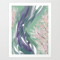 Deep Ocean River Abstract In Soft Green and Purple Art Print by Jen Warmuth Art And Design