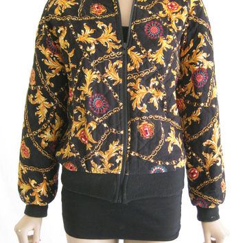 Vintage 80's Versace Inspired Tassel and Chain Bomber Jacket
