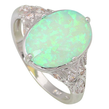 Fashion Opal rings Fina Jewelry Womens rings Green Fire Opal Silver Filled Gift ring size 5 6 7 8 9 R444