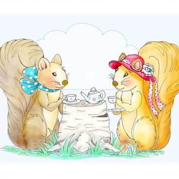 Nursery Room Decor Squirrel Tea Party Kids Wall by wonderlaneart