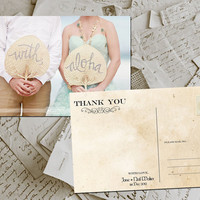 "50 Wedding Thank You Cards - Cergy Vintage Photo Personalized 4""x6"""