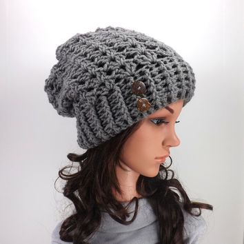 Crochet Slouchy Hat /PEWTER/ with Two Natural Coconuy Shell Buttons, Crochet Slouchy Beanie, Gift Idea