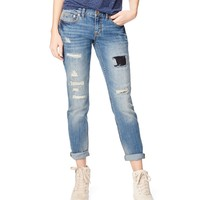 Aeropostale Womens Kylie Boyfriend Destroyed Medium Wash Jeans (Regular) - Blue,