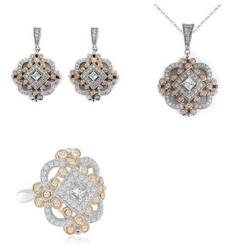 14K Rose Gold Art Deco Vintage Style Cubic Zirconia Matching Set (Earrings, Pendant and Ring) by CZ Sparkle Jewelry®