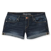 DARK WASH CUFFED SHORTY SHORTS