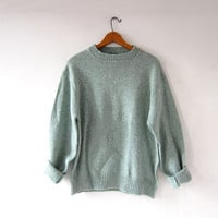 20% OFF SALE Vintage wool sweater. Mint green sweater. Crew neck sweater. Mens sweater.