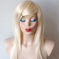 Halloween Special // Platinum Blonde wig. Long blonde straight hair long side bangs durable wig for your cosplay or daily use