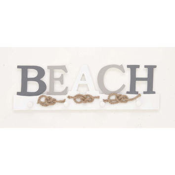Alluring Beach Sign Wall Hook, White And Gray
