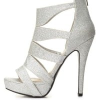 Strappy Caged Glitter Platform Heels by Charlotte Russe