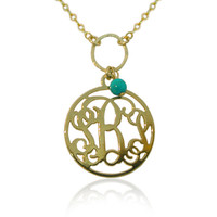 Monogram Necklace 1'' Inch 18k Yellow Gold Plated On Brass 3 Initials Personalized 3 Letters Monogrammed Pendant With Turquoise Bead