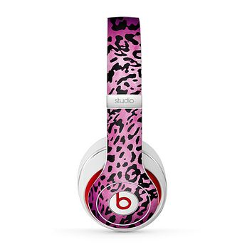 The Hot Pink Cheetah Animal Print Skin for the Beats by Dre Studio (2013+ Version) Headphones