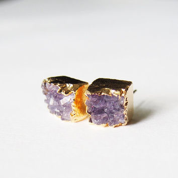 Amethyst Druzy Stud Earrings Natural Drusy Golden Studs Square Stud