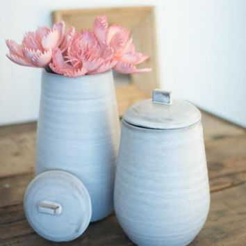 Set Of 2 Ceramic Canisters - Rustic White