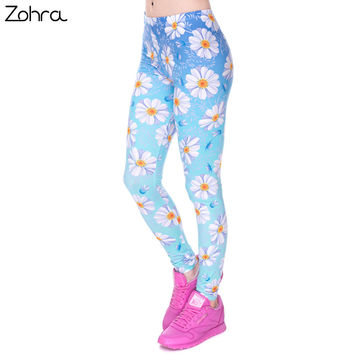 Zohra Fashion Elasticity Daisy Blue Ombre Printed Fashion Slim fit Legging Trousers Casual Polyester Pants Leggings for Women